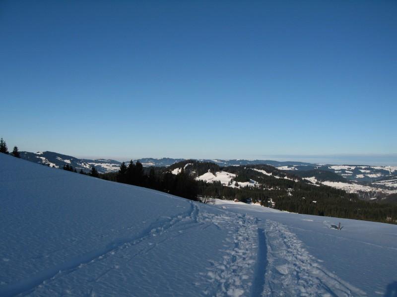 Wie jeder Tag in letzter Zeit auch heute traumhafte Bedingungen. Hier der Blick beim Zustieg zum Bullerschkopf zurück in den Vorderen Bregenzerwald.