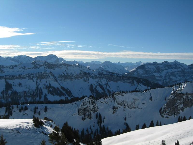 Blick durch den Bregenzerwald bis hin zum Rätikon.