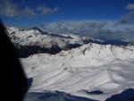 Blick vom Piz Campagnung (2826m) Richtung Norden wo die Schlechtwetterfront gut erkennbar ist.