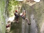 Die schwierigste Passage des ganzen Klettersteigs.