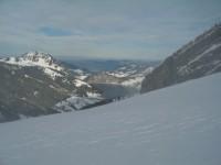Blick von der Alpe Mutteri hinab auf den Wägitalersee, von wo wir am Nordende aus gestartet sind.