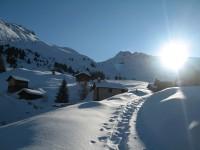 Idyllische Stimmung auf der Alpe Demat. Dahinter der Piz Castalegns, auch ein Geheimtipp, aber nicht im Alleingang!