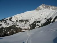 Ein Blick zurück auf die Alpe Demat und am Gegenhang nochmals Castelas und Bartg mit Piz Mitgel im Hintergrund.