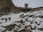 Kurz vor dem Erreichen der Bergstation in der Langkofelscharte.