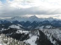 In der Bildmitte der Triglav. Ich hoffe kommenden Sommer die wunderbaren Klettersteige dort machen zu können.