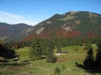 Beim Abstieg zurück ins Rottachtal geht's vorbei an der Siebli Alm mit ständig tollem Blick in die herbstlich gefärbten Wälder des Bodenschneids.