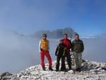 Volker, Anna, Ich und Robert am Piz Selva 2941m. Im Hintergrund der sensationelle Langkofel.