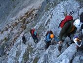 Unterwegs am Seebener Klettersteig.